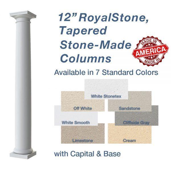 12 Round Smooth Tapered Fibergl Columns Crown Molding