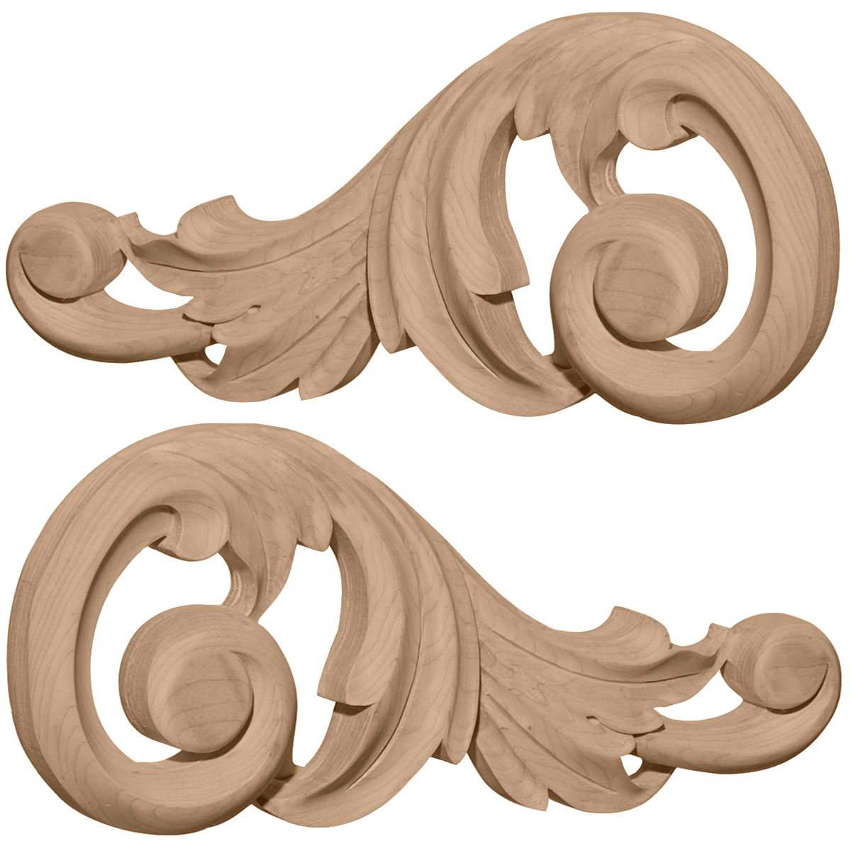 "Decorative Wood Accents 718""w X 318""h X 58""d Each Side Small Swaying Scrolls Pair ."